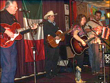 At Jovitas, Austin, Tx with Steve Carter(Stop The Truck), Max Baca (Texmaniacs), Bianca, Michael Guerra (Raul Malo)